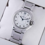 Replica Ballon Bleu de Cartier Stainless Steel Diamonds Bezel Diamonds Markers Unisex Watches