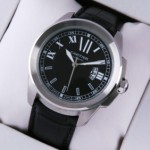 Replica Calibre de Cartier Large Black Dial Black Leather Strap Mens Watches