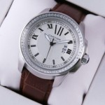 Replica Calibre de Cartier Stainless Steel Diamonds White Dial Brown Leather Mens Watches