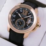 Replica Cartier Calibre de Cartier 18k Rose Gold Black Dial and Strap Mens Replica Watches