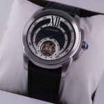 Replica Cartier Calibre de Cartier Flying Tourbillon Black Dial Black Leather Strap Steel Mens Watches