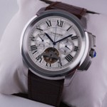 Replica Cartier Calibre de Cartier Flying Tourbillon White Dial Brown Leather Strap Steel Mens Watches