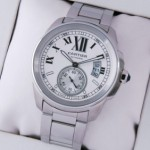 Replica Cartier Calibre de Cartier Stainless Steel Silver Dial Automatic Mens Watches W7100015