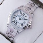 Replica Cartier Roadster Stainless Steel Silver White Dial Ladies Watches W62016V3