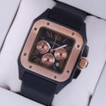 Replica Cartier Santos 100 Chronograph Tow-Tone Rose Gold Black Satin Band Limited Edition Mens Watches