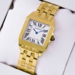 Replica Cartier Santos 100 Full 18K Yellow Gold Silver Grained Dial Unisex Watches