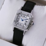 Replica Cartier Santos 100 Stainless Steel Black Leather Strap Ladies Watches