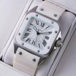 Replica Cartier Santos 100 Stainless Steel White Rubber Band Mens Watches