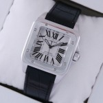 Replica Cartier Santos 100 Steel Black Leather Strap Midsize Unisex Watches W20106X8