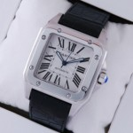 Replica Cartier Santos 100 Steel Black Leather Strap XL Mens Watch W20073X8