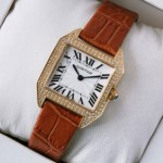 Replica Cartier Santos Dumont Diamonds 18K Rose Gold Brown Leather Strap Ladies Watches