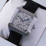 Replica Cartier Santos Dumont Skeleton Steel Black Leather Strap Mens Watches W2020033