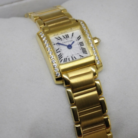 replica cartier tank 18k yellow gold diamonds