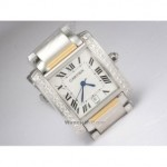Replica Cartier Tank Francaise Diamond Two-Tone Gold Single Row Diamonds Bezel Mens Watches