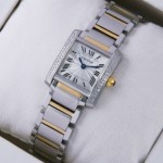 Replica Cartier Tank Francaise Diamond Two-Tone Gold Two Rows Diamonds Bezel Ladies Watches