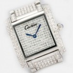 Replica Cartier Tank Francaise Full Diamonds 18K White Gold Ladies Watches