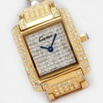 Replica Cartier Tank Francaise Full Diamonds 18K Yellow Gold Ladies Watches