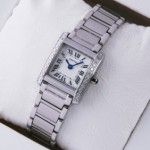 Replica Cartier Tank Francaise Single Row Diamonds Bezel Stainless Steel Ladies Watch