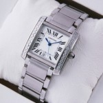 Replica Cartier Tank Francaise Single Row Diamonds Steel Mens Watches