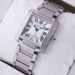 Replica Cartier Tank Francaise Two Rows Diamonds Steel Mens Watches