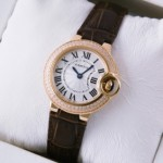 Replica SWISS Ballon Bleu de Cartier Two Rows Diamonds Rose Gold Brown Ladies Watches