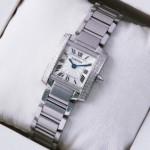 Replica SWISS Cartier Tank Francaise Two Rows Diamonds Bezel Stainless Steel Ladies Watch cheap