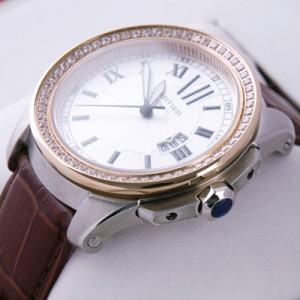 Calibre de Cartier Watches Replica Rose Gold Diamonds