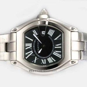 Cartier Roadster Stainless Steel Black Dial Mens Watch