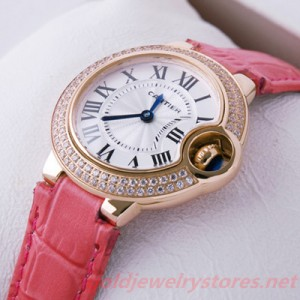 Fake Ballon Bleu de Cartier Watch Diamonds Rose Gold Pink Ladies