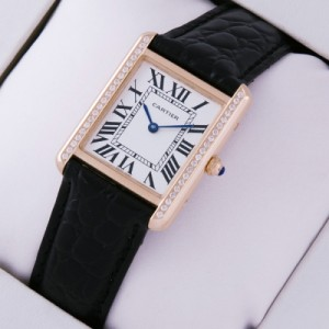 Replica SWISS Cartier Tank Solo 18kt Rose Gold Diamonds Black Leather Strap Ladies Watches