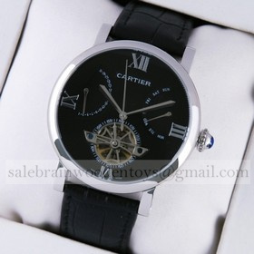 Rotonde de Cartier Black Dial Black Leather Tourbillon Mens Watches