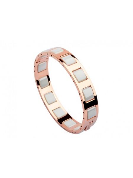 Bvlgari Single row white ceramic bangle in pink gold