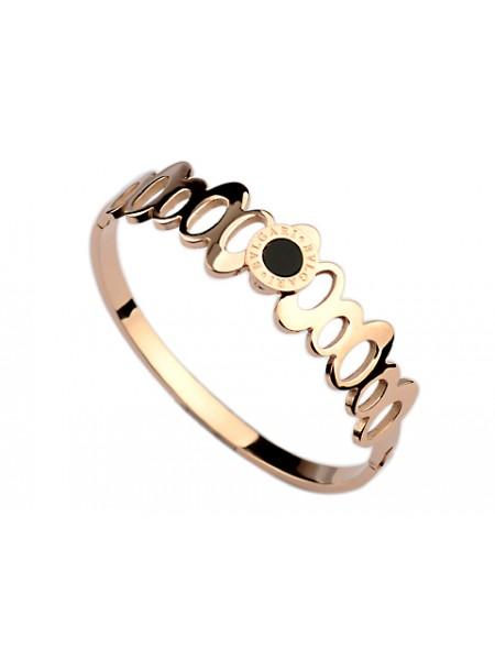 bvlgari bangle bracelet in 18kt pink gold with black onyx