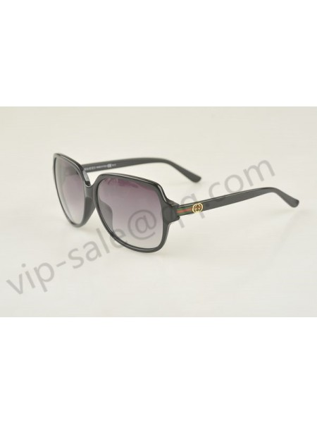 Gucci large square black frame sunglasses with circle-shaped GG