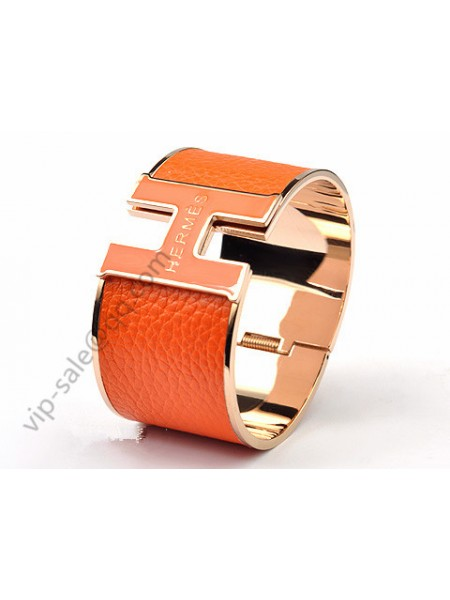 Hermes H Bracelet in 18kt Pink Gold with Orange Leather, Wide