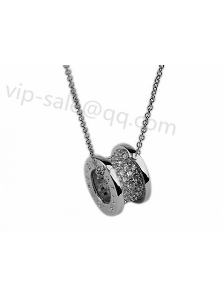 Replica bvlgari jewelry offer the fake bvlgari bzero1 necklace and bvlgari bzero1 pendant with chain in 18kt white gold with pave diamonds outlet aloadofball Images