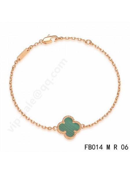 Van Cleef & Arpels Sweet Alhambra bracelet in pink gold with malachite