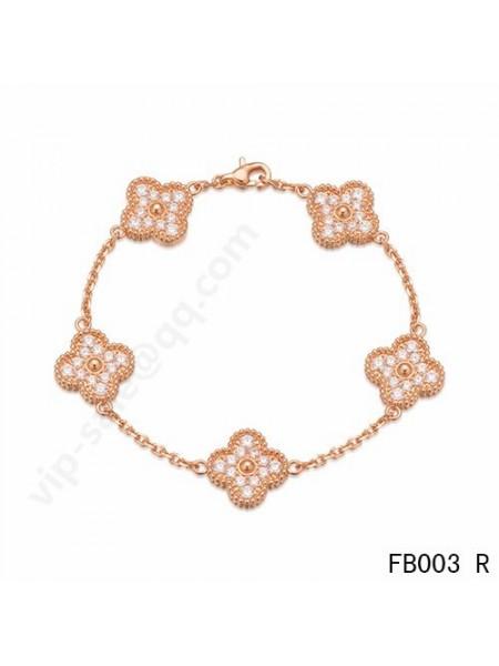 Van Cleef & Arpels Vintage Alhambra bracelet in pink gold with round diamonds