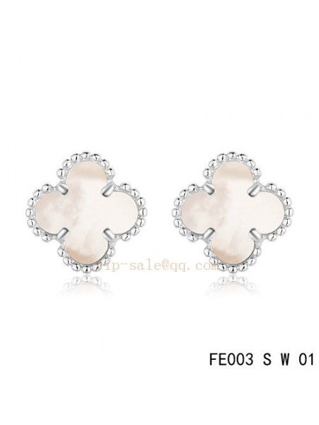 1b384599e Van Cleef & Arpels Clover earrings in white gold with White mother of ...