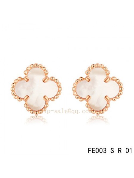 Van Cleef & Arpels Clover earrings in pink gold with White mother of pearl