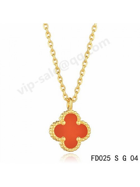 High quality van cleef jewelry replica shop offer the fake van cleef van cleef arpels vintage alhambra pendant in yellow gold with coral aloadofball Choice Image