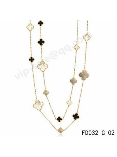 Van cleef & arpels Magic Alhambra long necklace in yellow gold with Mother-of-pearl and Onyx