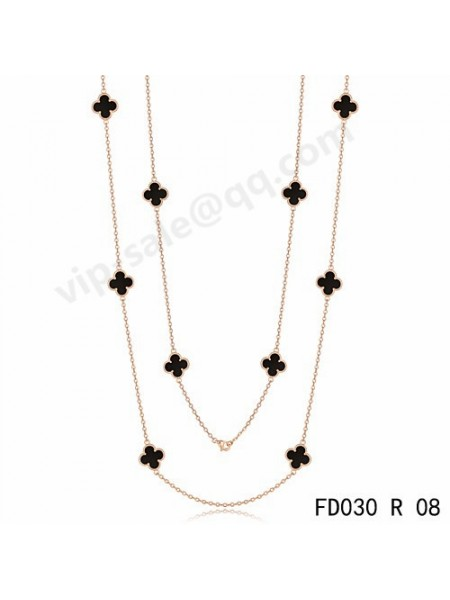 Van cleef & arpels Vintage Alhambra necklace in yellow gold with Onyx