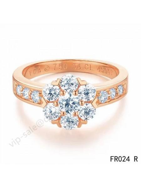 Van Cleef & Arpels Fleurette ring in pin gold whit 1 row diamonds