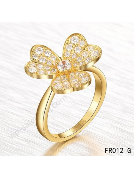 Van Cleef & Arpels Frivole ring in yellow gold with round diamonds