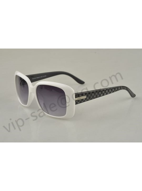 Gucci medium rectangle white frame sunglasses