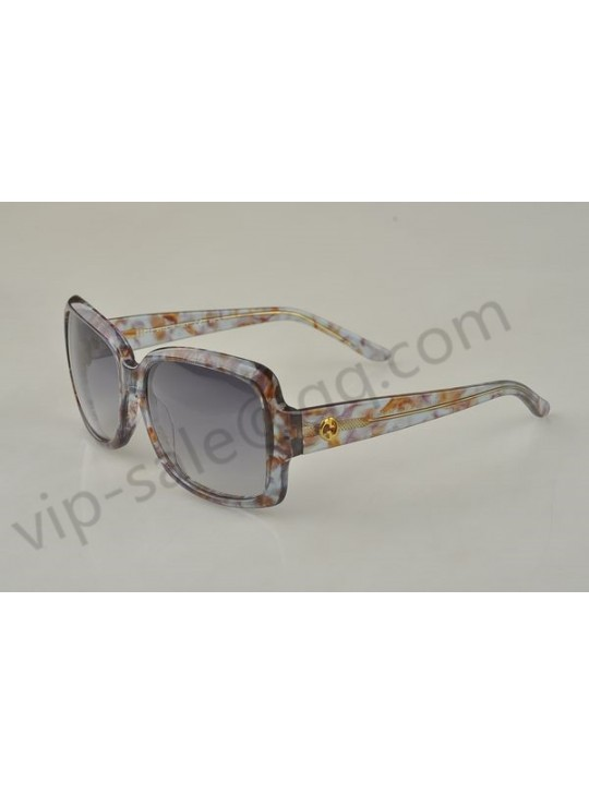 Gucci large rectangle frame sunglasses with grey agate patterns