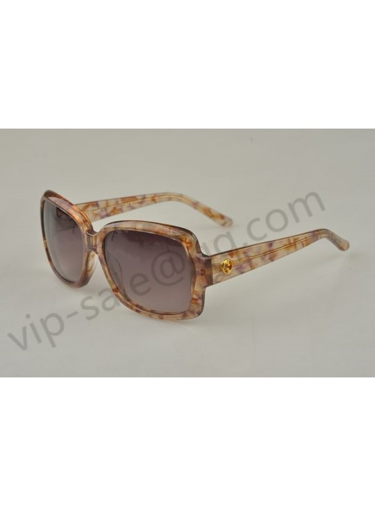Gucci large rectangle frame sunglasses with brown agate patterns