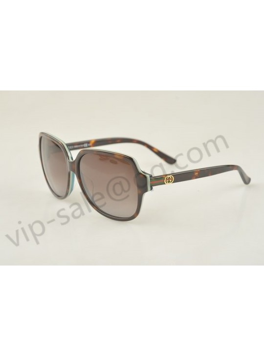 Gucci large square dark brown and white frame sunglasses