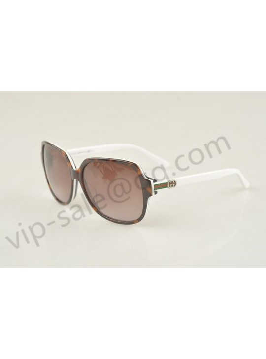 Gucci large square white and brown frame sunglasses